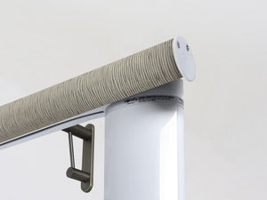 Motorised electric curtain pole in shale green, wireless & battery powered using the Somfy Glydea track | Walcot House UK curtain pole specialists