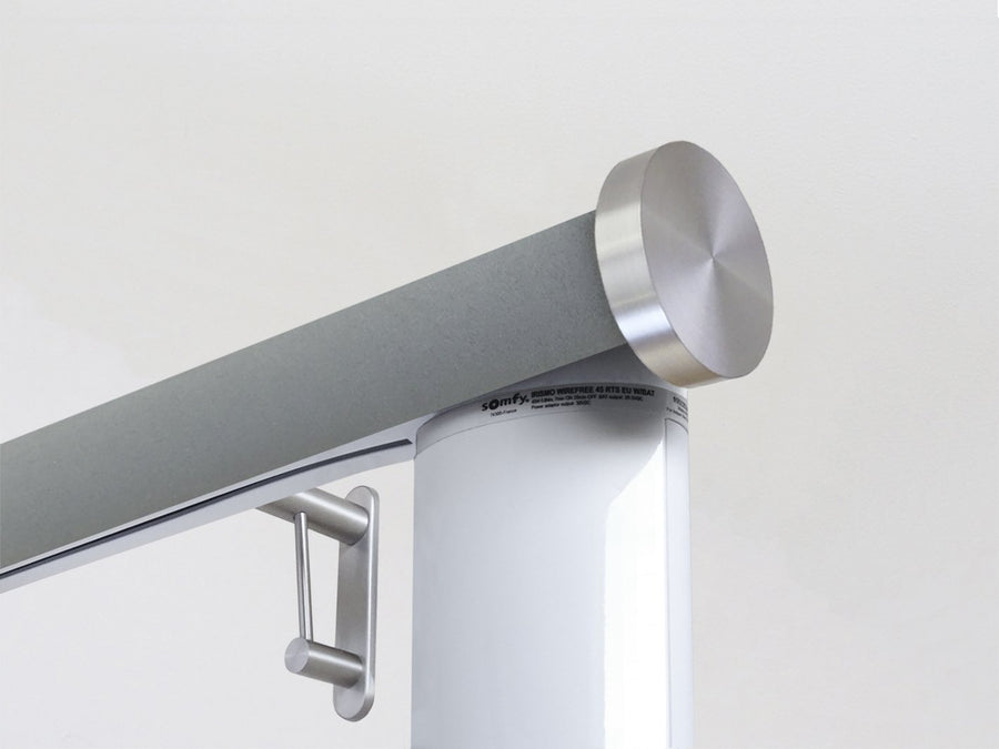 Motorised electric curtain pole in slate blue suede, wireless & battery powered using the Somfy Glydea track | Walcot House UK curtain pole specialists