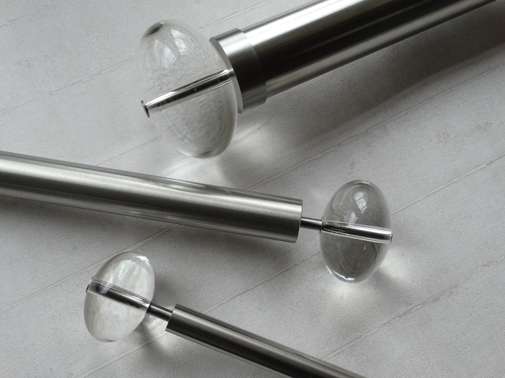 Stainless steel metal curtain pole sets with elliptical acrylic finials