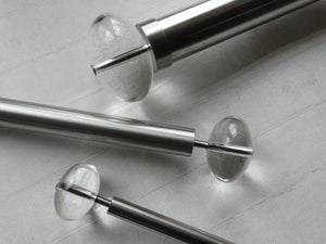 Mixed diameter stainless steel metal curtain pole sets with acrylic ellipse finials