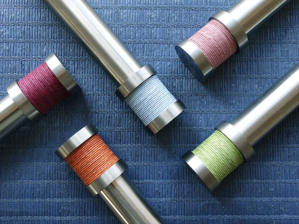 Bright coloured twine groove finial | Walcot House 30mm stainless steel collection