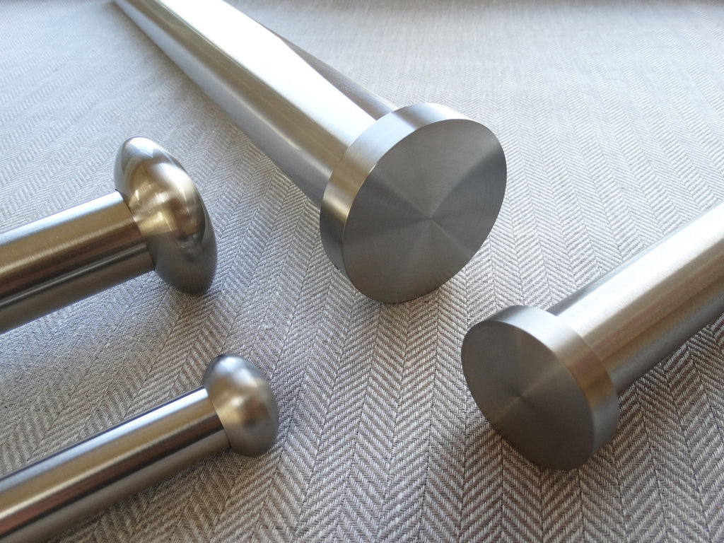 Stainless steel curtain pole set collection by Walcot House