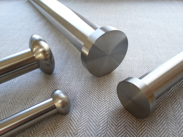 19mm diameter stainless steel metal curtain pole set with elliptical finials
