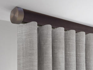 Flush ceiling fix curtain pole in tennessee brown by Walcot House