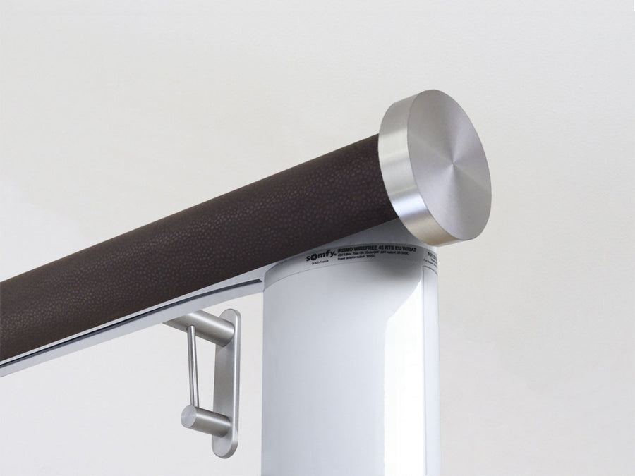 Motorised electric curtain pole in tennessee bronze, wireless & battery powered using the Somfy Glydea track | Walcot House UK curtain pole specialists