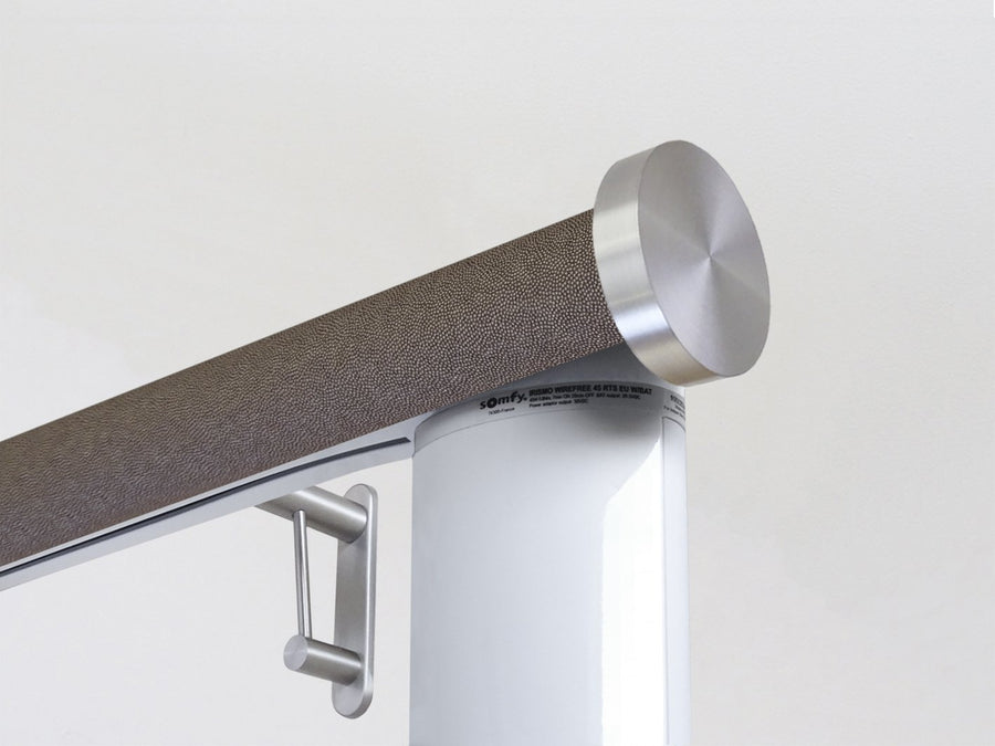 Motorised electric curtain pole in truffle brown, wireless & battery powered using the Somfy Glydea track | Walcot House UK curtain pole specialists