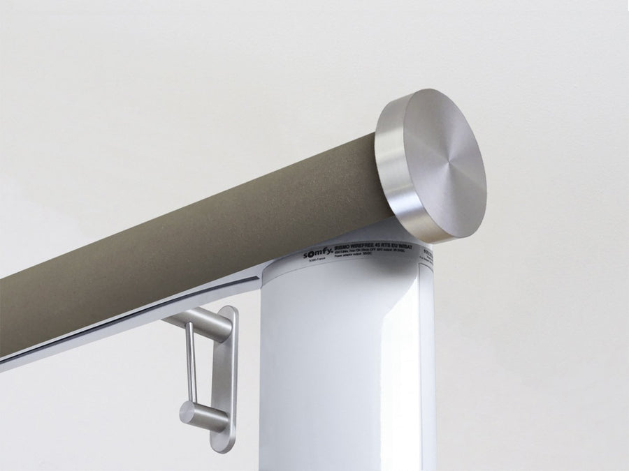 Motorised electric curtain pole in vole brown suede, wireless & battery powered using the Somfy Glydea track | Walcot House UK curtain pole specialists