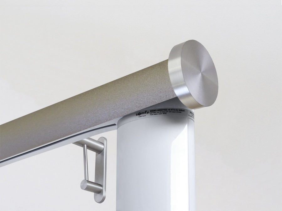 Motorised electric curtain pole in warm gunmetal driftwood, wireless & battery powered using the Somfy Glydea track | Walcot House UK curtain pole specialists