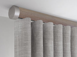 Flush ceiling fix curtain pole in Weathered Oak stained wood by Walcot House