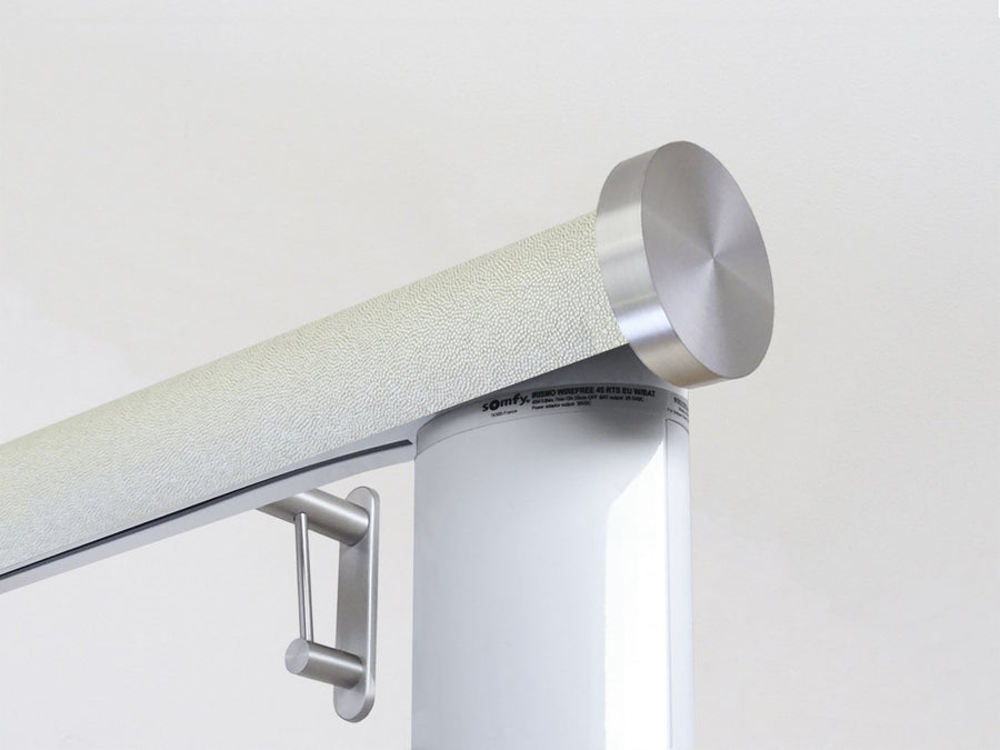 Motorised electric curtain pole in white pepper, wireless & battery powered using the Somfy Glydea track | Walcot House UK curtain pole specialists