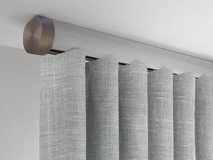 Flush ceiling fix curtain pole in Wood Pigeon stained wood by Walcot House