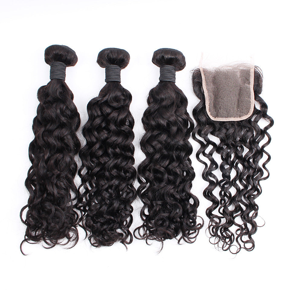 Hot 7A Peruvian Virgin Hair Spiral Curly with Closure 3 Bundles Peruvian Virgin Hair with Closure