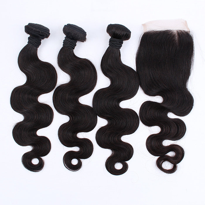 Body Wave 3 Bunldes Brazilian Virgin Hair With 1 Closure