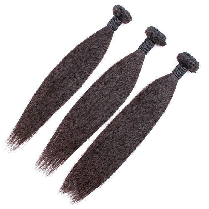 10~30 inches Peruvian Virgin Human Hair Extension Silky Straight, Pack of Three, 100g/Bundle