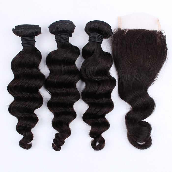 Real Virgin Human Hair Weave With Closure Malaysian Virgin Hair Loose Wave