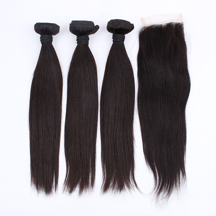 Grade 7A Indian Virgin Hair With Closure 3 Pcs Silky Straight Hair Weave With 1 Pc Lace Closure