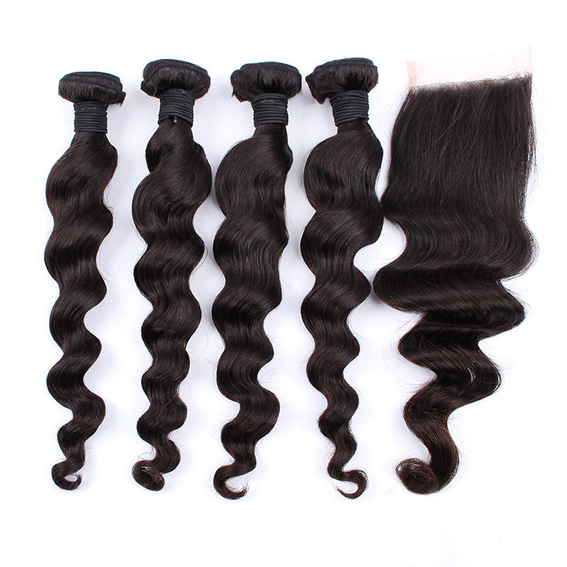 Unprocessed Human Hair Weave 4 Bundles with 1 Lace Closure Brazilian Virgin Hair