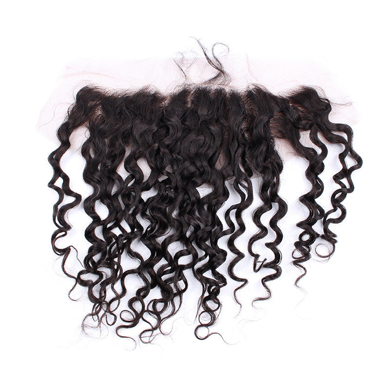 Natural Black Color 13*4 inch Lace Frontal Brazilian Spiral Curly