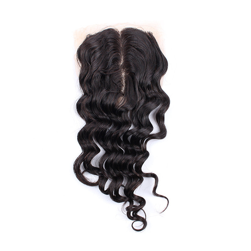 Unprocessed Malaysian Deep wave 4*4 inch Silk Base Closure Bleached Knots