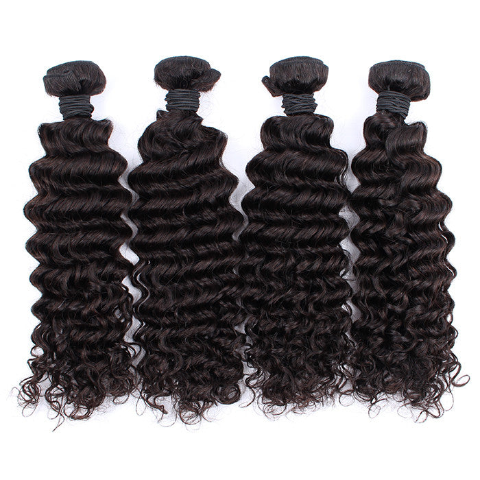 Malaysian Virgin Hair Deep Wave 4 Bundles Unprocessed Human Hair Weft Extensions Natural Color