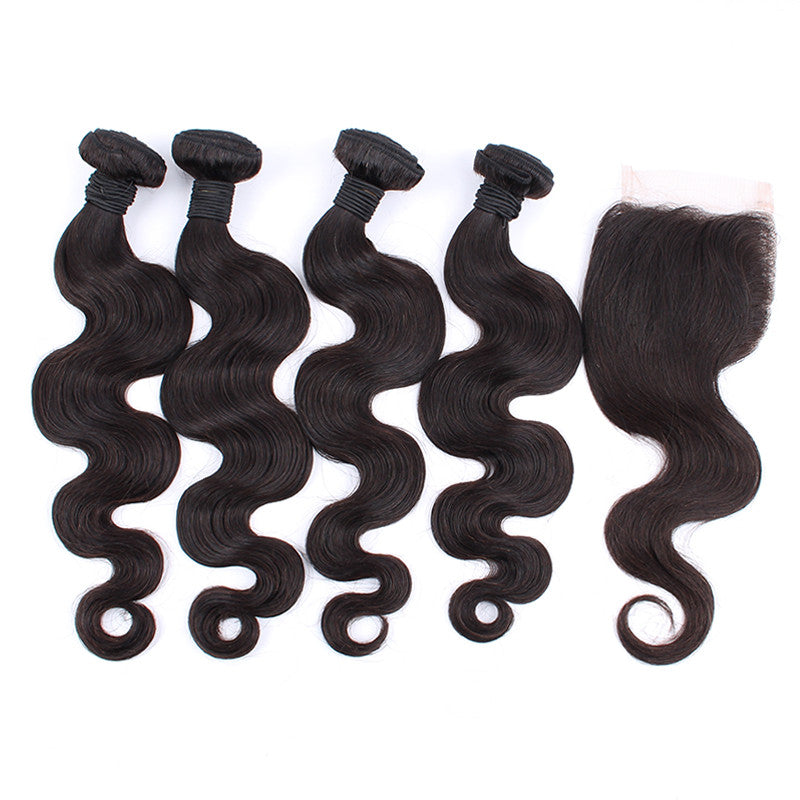 7A Unprocessed Indian Body Wave 4 Bunldes Hair Weaver With 1 Closure