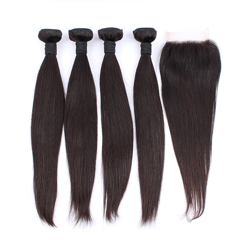 Unprocessed Brazilian Virgin Hair Silky Straight 4 Bunldes With 1 Closure