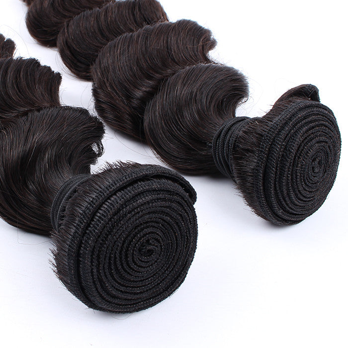 Real Unprocessed Malaysian Loose Wave Virgin Hair 2 Bundles Human Hair Weave