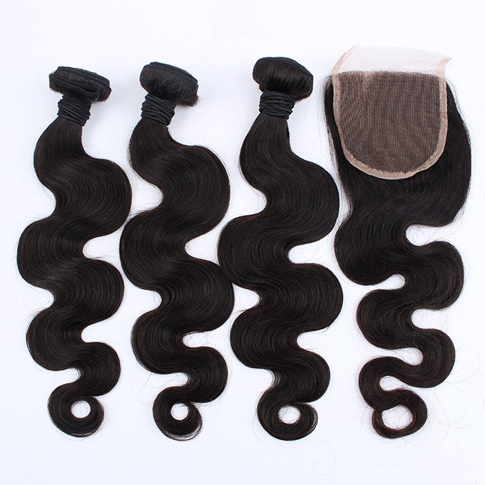 100% Real Unprocessed Peruvian Body Wave Hair Bundles With Closure For Full Head