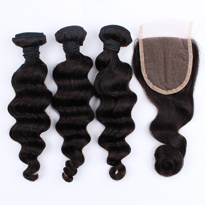 High Quality Loose Wave Hair Weave With Lace Closure 100% Peruvian Virgin Human Hair
