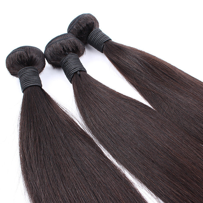 100% Non-Processed Indian Virgin Human Hair 3 Bundles Silky Straight