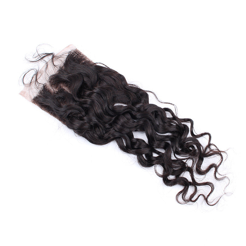 Top Selling Brazilian Virgin Hair 4*4inch Closure Spiral Curly Bleached Knots