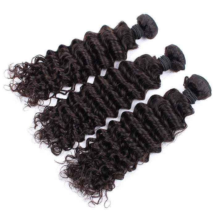 100% Malaysian Virgin Hair 7A Grade 3 Bundles/Lot Deep Wave Free Shipping