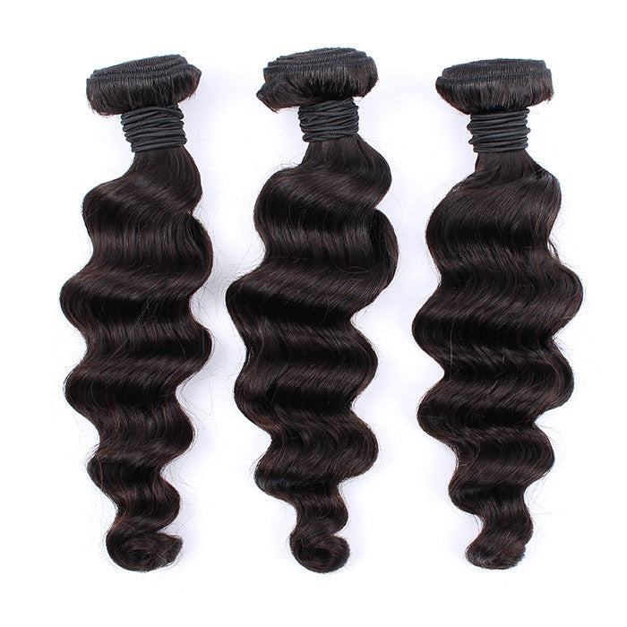Grade 7A Unprocessed Peruvian Virgin Hair 3 Bundles Loose Wave