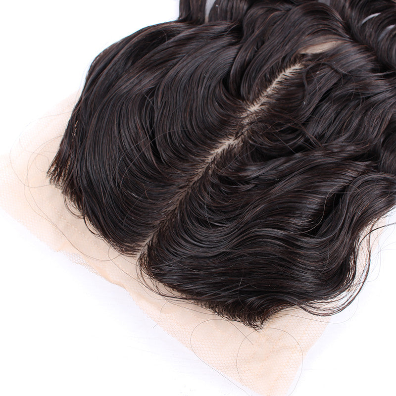 Unprocessed Malaysian Deep Wave 4*4 inch Silk Based Closure Bleached Knots