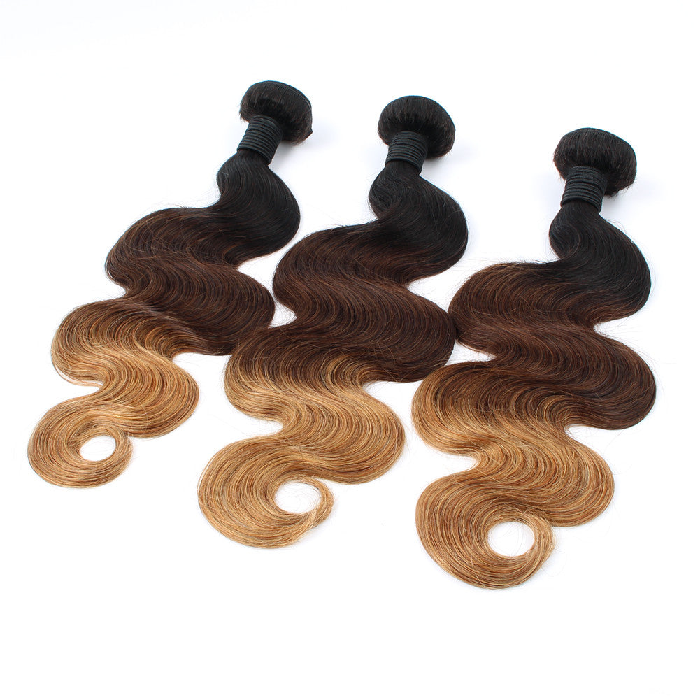 Top Quality Ombre 1b/4/27 Full Cuticle Indian Virgin Body Wave 6A 3 Tone Color