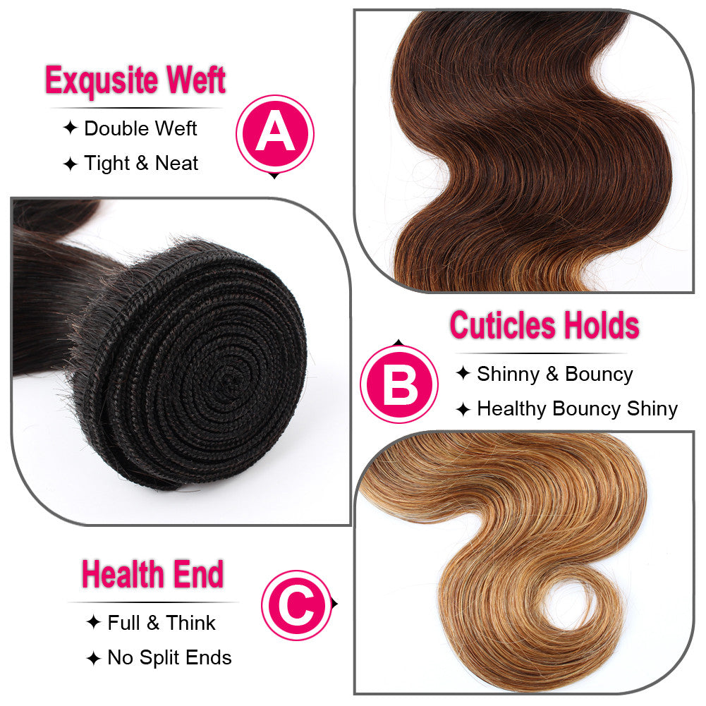1B/4/27 Ombre Color PeruvianHuman Hair Weft Extension Body Wave