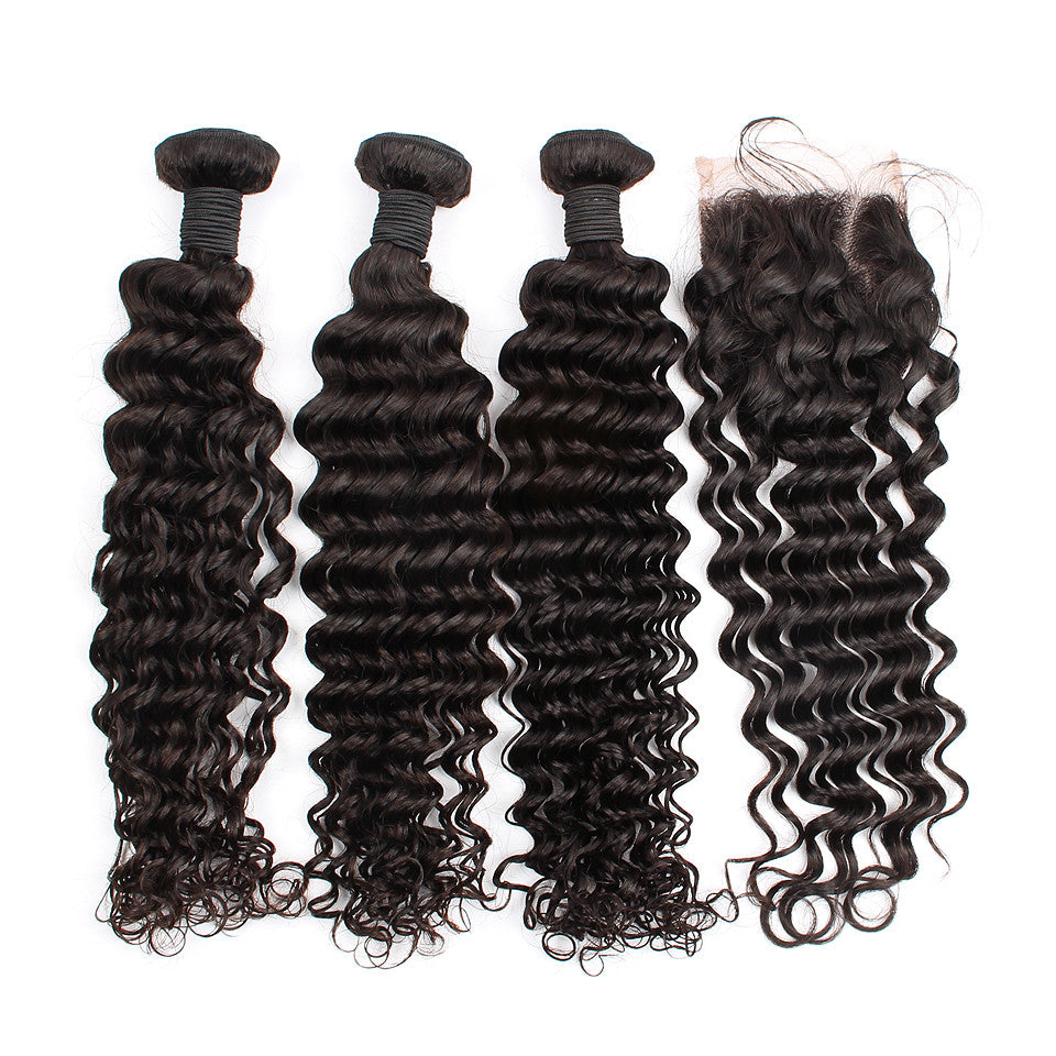 Unprocessed Brazilian Virgin Hair Bundles With Deep Wave Closure For Full Head