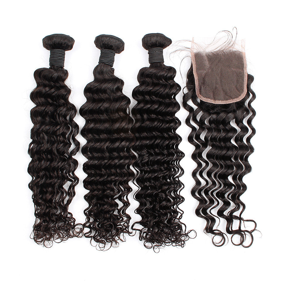 3 Bundles With Lace Closure Peruvian Deep Wave Hair Shipping Free