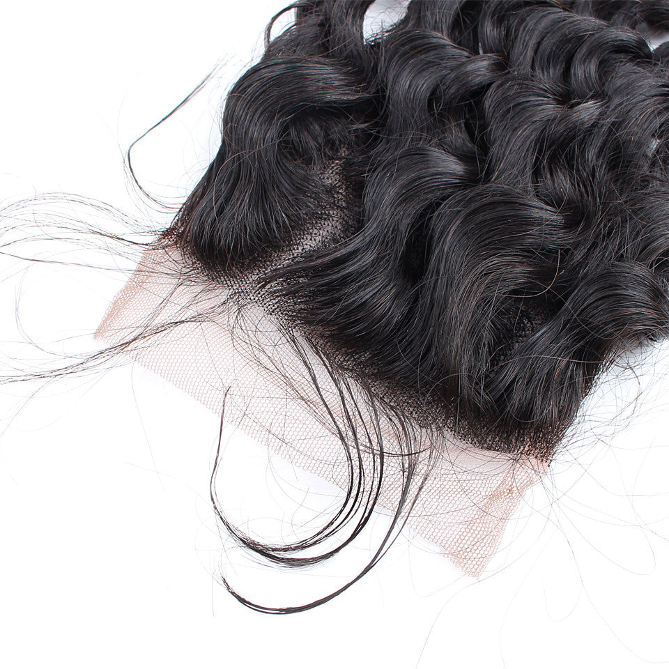Top Selling Malaysian Virgin Hair With Lace Closure Deep Wave Total 4Pcs/Lot