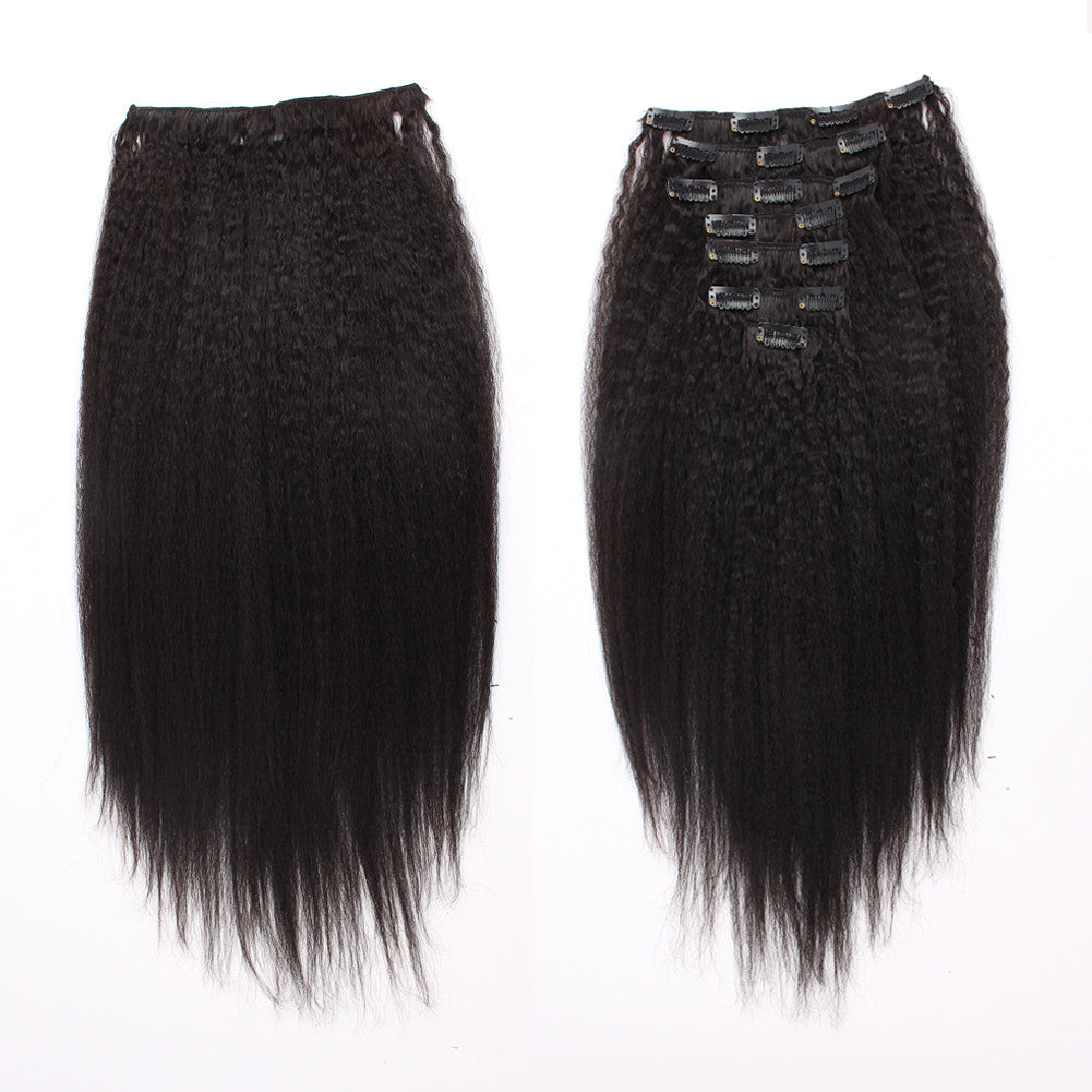 Clip in Hair Extensions 18inch Kinky Straight Hair