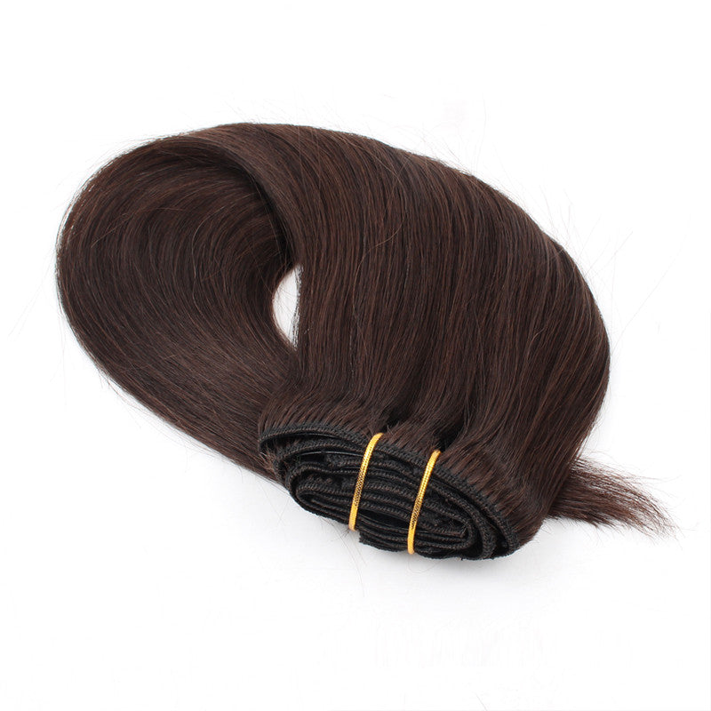 Color 2 120g Clip In Hair Extensions 18inch Silky Straight Hair