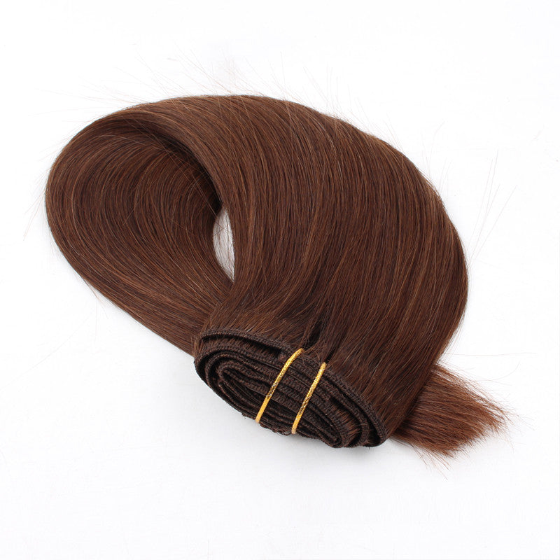 Color #4 120g Clip in Hair Extensions 18inch Silky Straight Hair