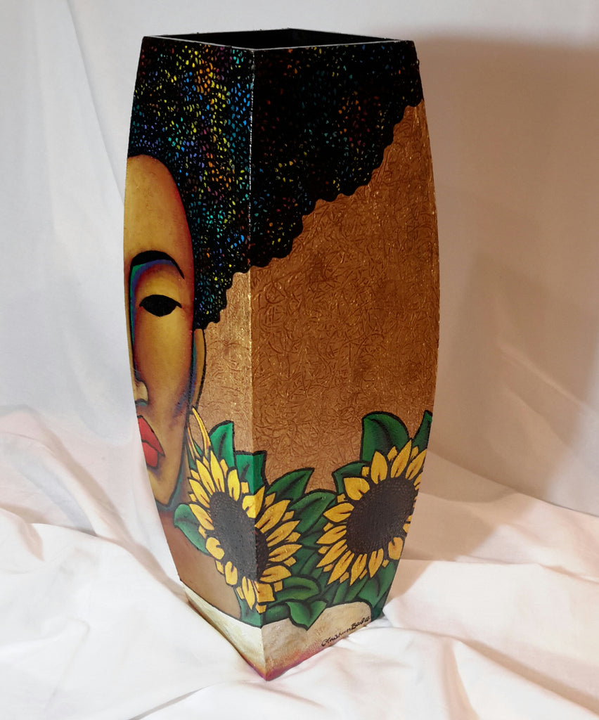 Hand Painted Wooden Vase #10