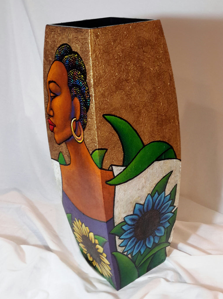 Hand Painted Wooden Vase #7