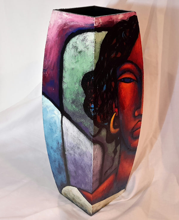 Hand Painted Wooden Vase #19