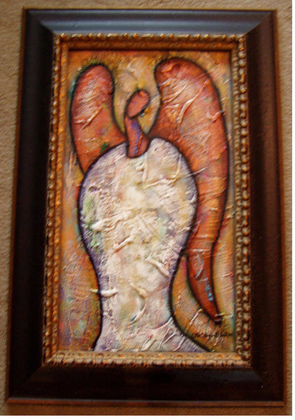 Angel #8 Acrylic Paint on Board Art Original Framed - Lashunbeal.com