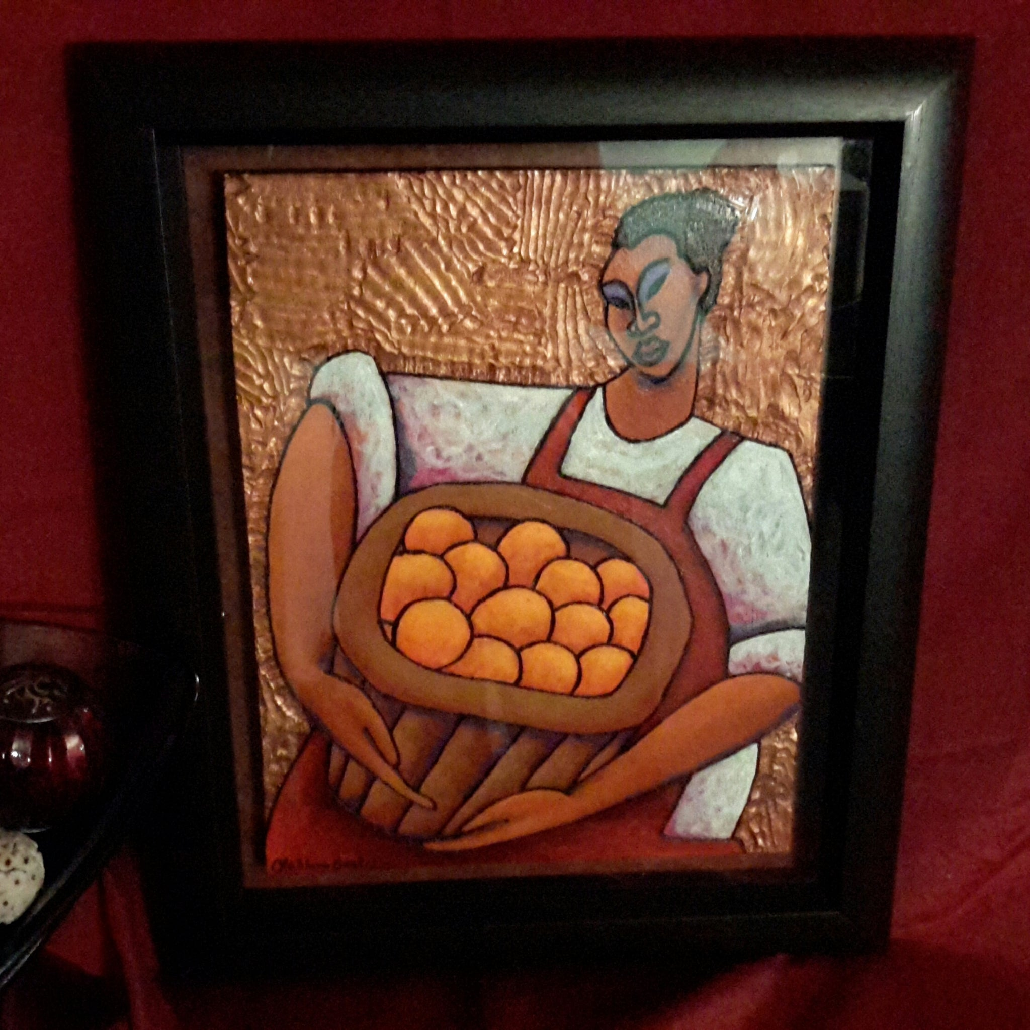 Basket Of Oranges #2- Acrylic Paint on Carved Board Art Original - Lashunbeal.com