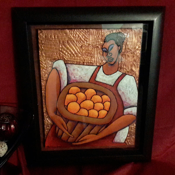 Basket Of Oranges #2 Acrylic Paint on Carved Board Art Original - LaShunBeal.com