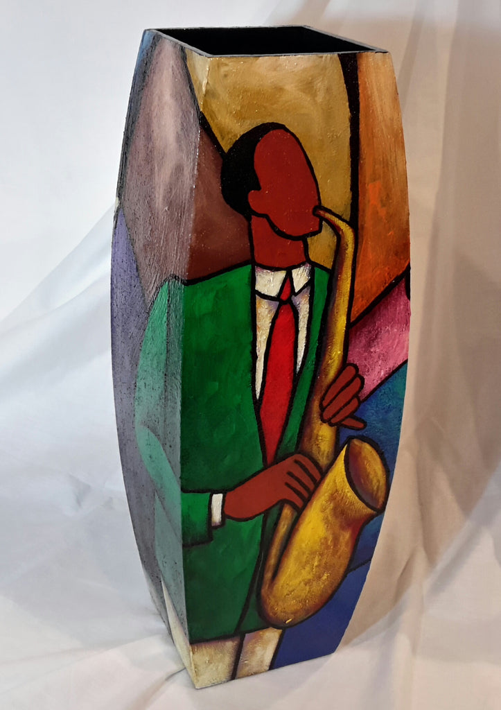 Hand Painted Wooden Vase #18