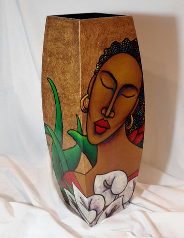 Hand Painted Wooden Vase #8